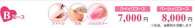 Bコース:クイックコース 7,000円/ベーシックコース 9,000円/ファイル+甘皮+ジェルカラー