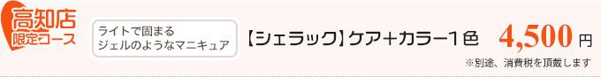 高知店限定コース「ライトで固まるジェルのようなマニキュア、【シェラック】ケア+カラー1色 3,990円」